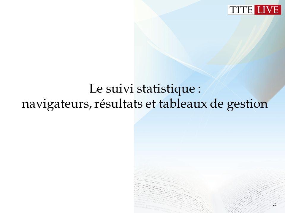 Le suivi statistique : navigateurs, résultats et tableaux de gestion