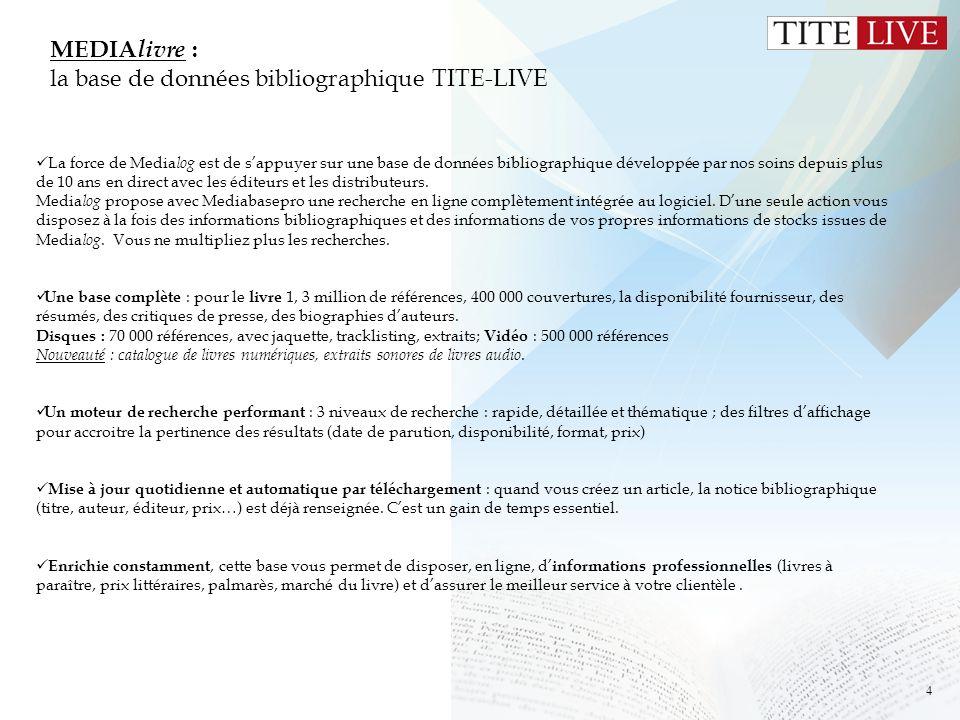 MEDIAlivre : la base de données bibliographique TITE-LIVE