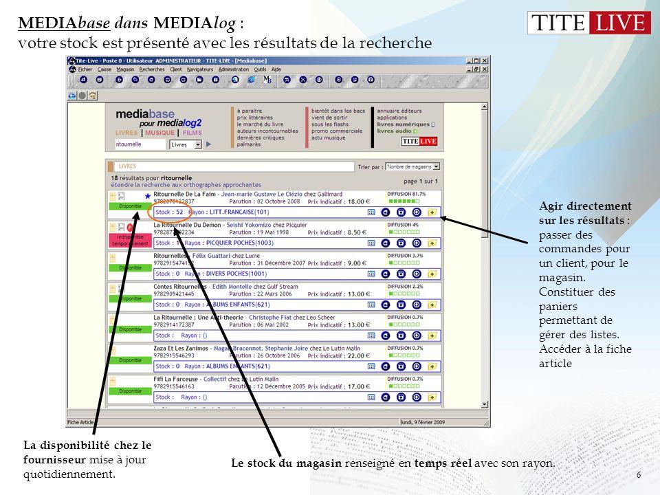 MEDIAbase dans MEDIAlog : votre stock est présenté avec les résultats de la recherche