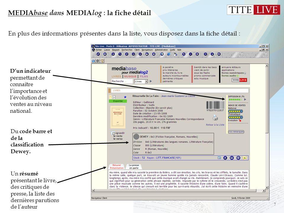 MEDIAbase dans MEDIAlog : la fiche détail