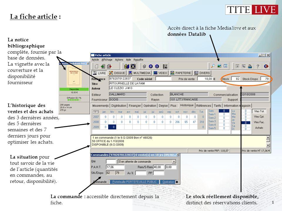 La fiche article : Accès direct à la fiche Medialivre et aux données Datalib. La notice bibliographique complète, fournie par la base de données.