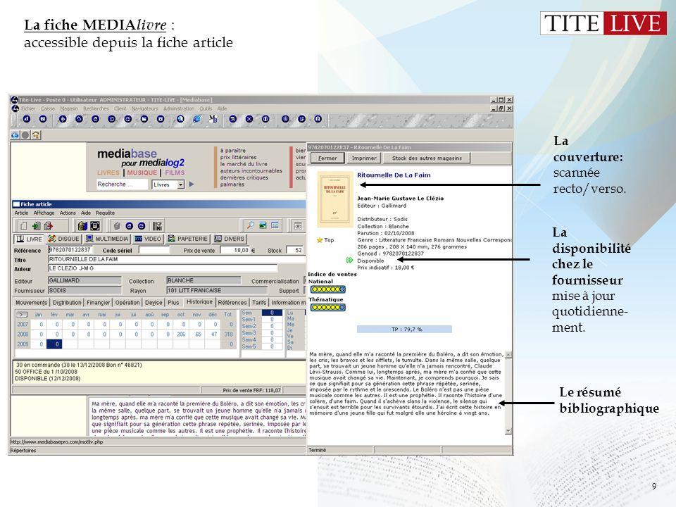 La fiche MEDIAlivre : accessible depuis la fiche article