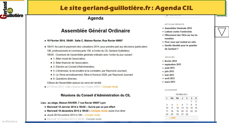 Le site gerland-guillotière.fr : Agenda CIL