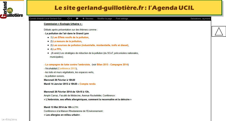 Le site gerland-guillotière.fr : l'Agenda UCIL
