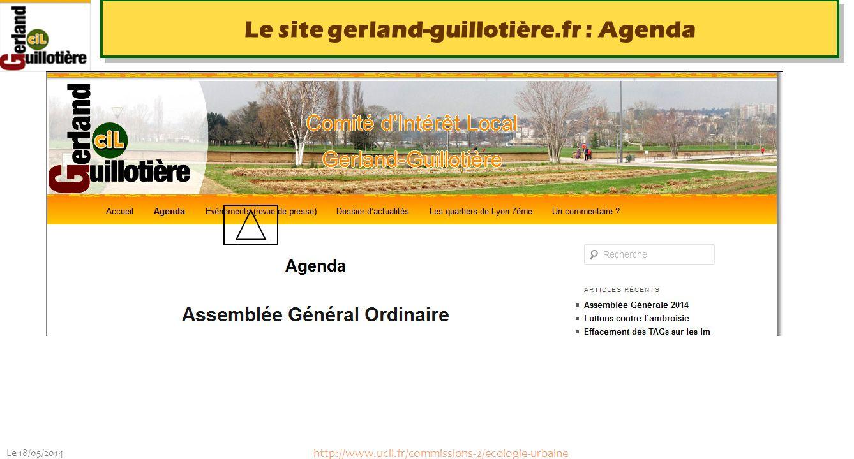 Le site gerland-guillotière.fr : Agenda