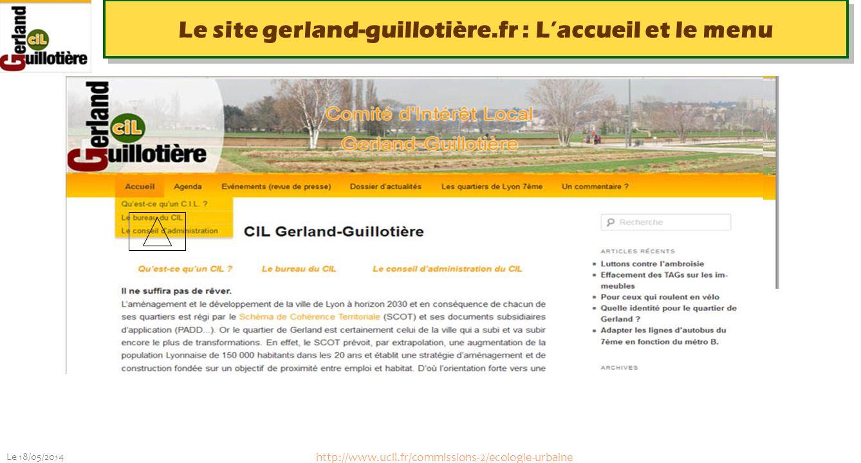 Le site gerland-guillotière.fr : L'accueil et le menu