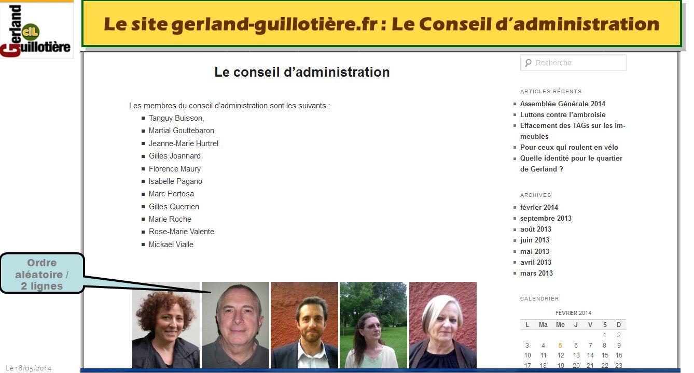Le site gerland-guillotière.fr : Le Conseil d'administration