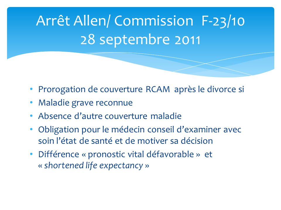 Arrêt Allen/ Commission F-23/10 28 septembre 2011