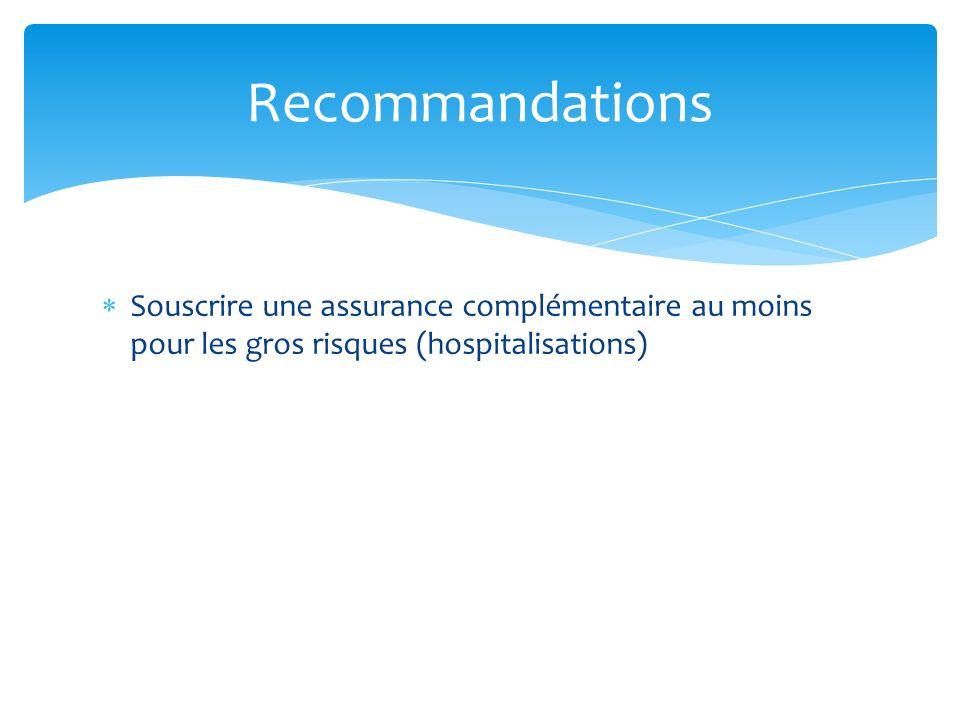 Recommandations Souscrire une assurance complémentaire au moins pour les gros risques (hospitalisations)