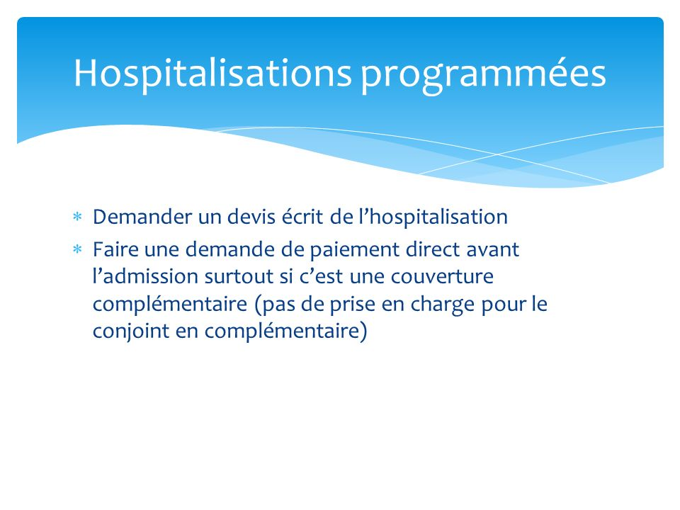Hospitalisations programmées