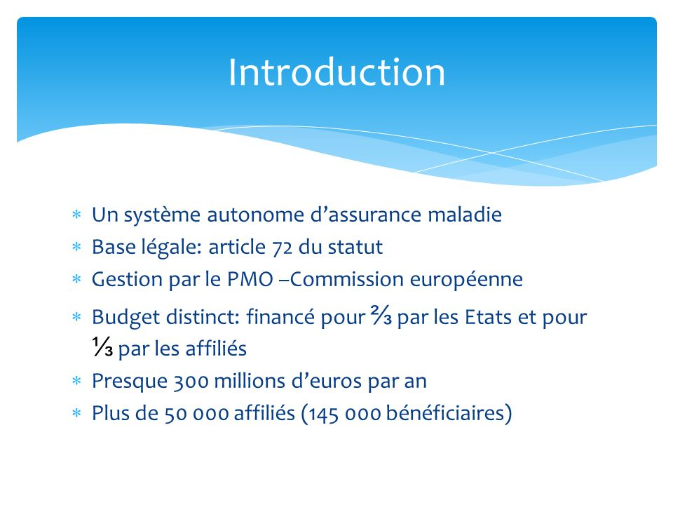 Introduction Un système autonome d'assurance maladie