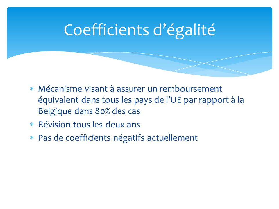 Coefficients d'égalité