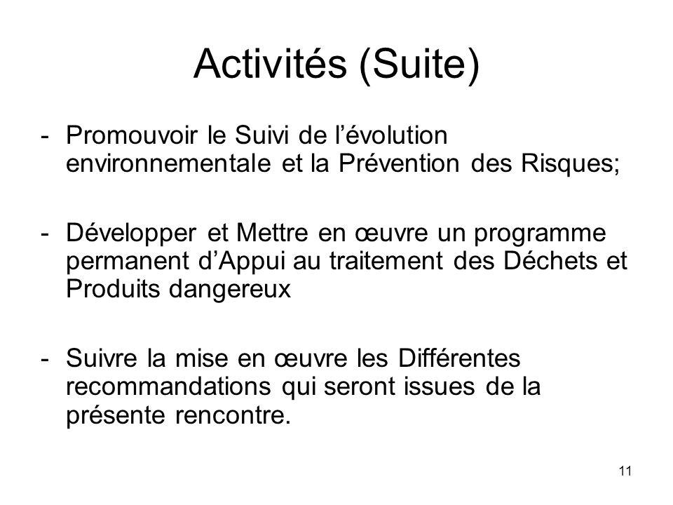 Activités (Suite) Promouvoir le Suivi de l'évolution environnementale et la Prévention des Risques;