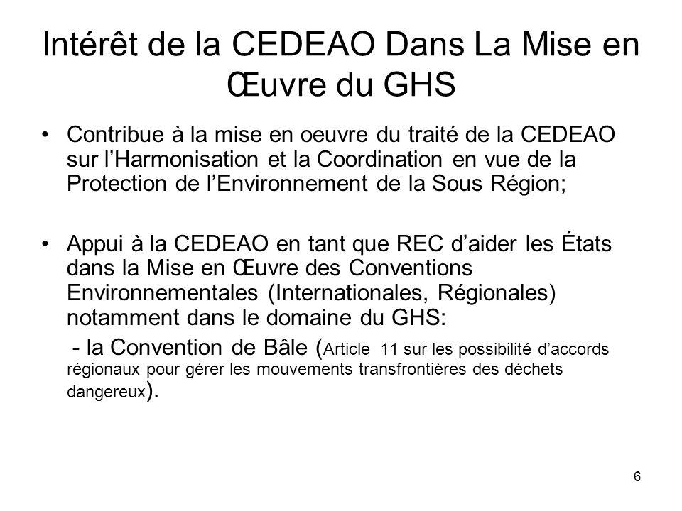 Intérêt de la CEDEAO Dans La Mise en Œuvre du GHS