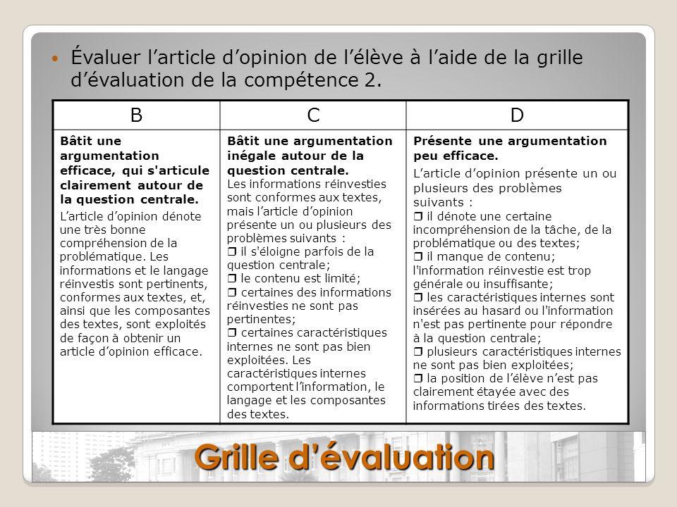 Évaluer l'article d'opinion de l'élève à l'aide de la grille d'évaluation de la compétence 2.