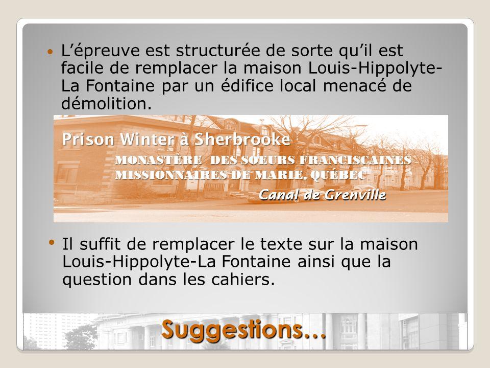 L'épreuve est structurée de sorte qu'il est facile de remplacer la maison Louis-Hippolyte- La Fontaine par un édifice local menacé de démolition.