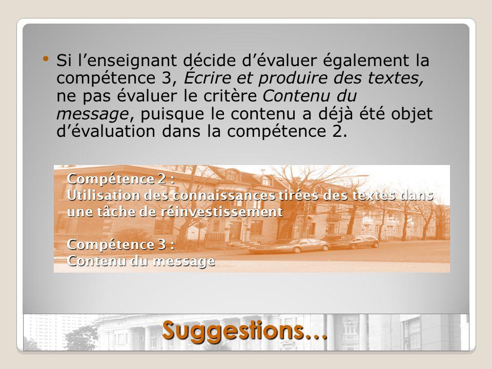 Si l'enseignant décide d'évaluer également la compétence 3, Écrire et produire des textes, ne pas évaluer le critère Contenu du message, puisque le contenu a déjà été objet d'évaluation dans la compétence 2.