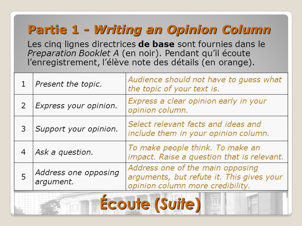 Écoute (Suite) Partie 1 - Writing an Opinion Column