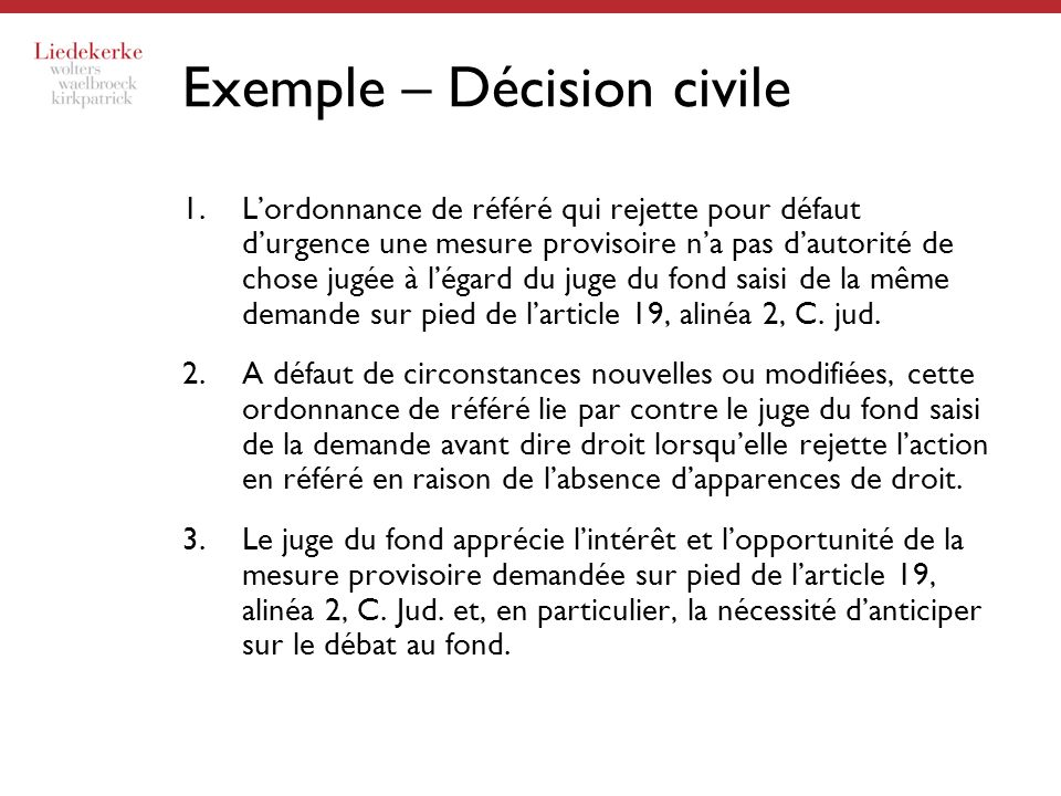 Exemple – Décision civile