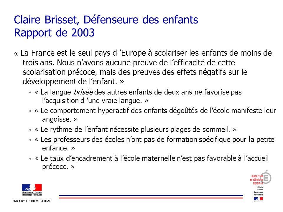 Claire Brisset, Défenseure des enfants Rapport de 2003