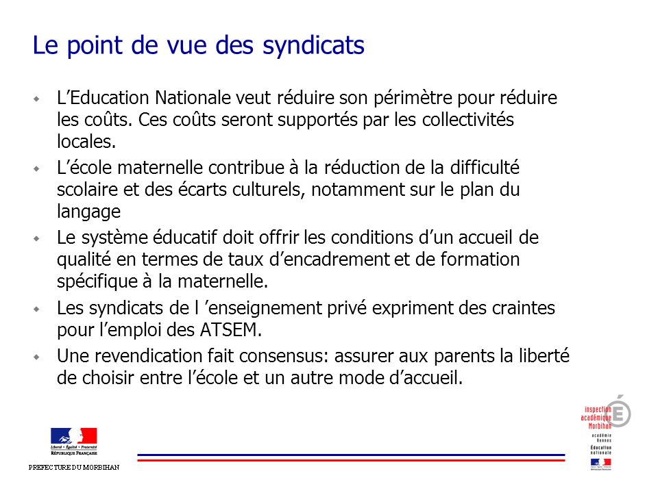 Le point de vue des syndicats