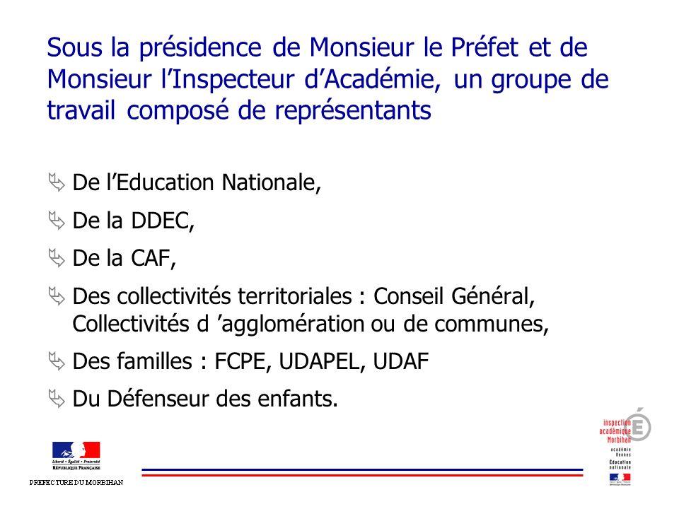 Sous la présidence de Monsieur le Préfet et de Monsieur l'Inspecteur d'Académie, un groupe de travail composé de représentants