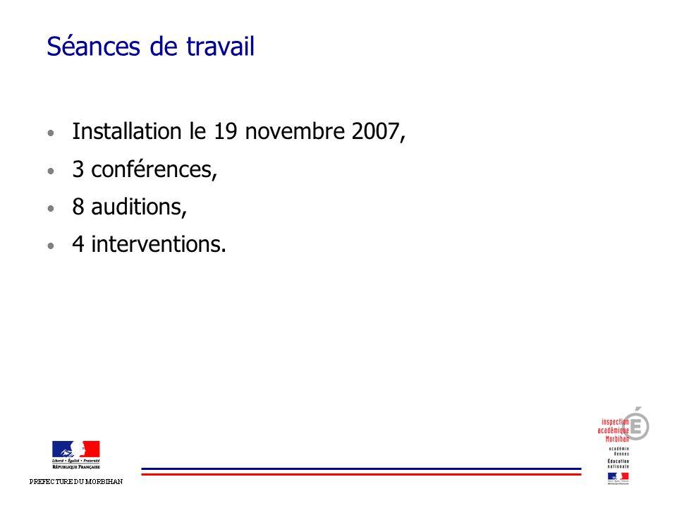 Séances de travail Installation le 19 novembre 2007, 3 conférences,
