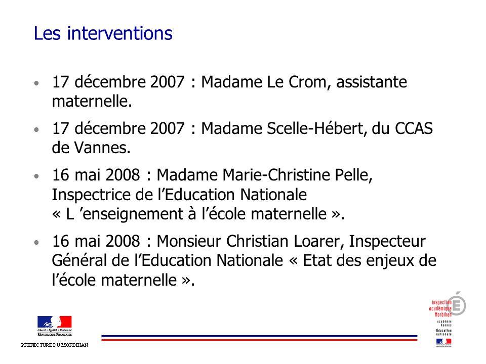 Les interventions 17 décembre 2007 : Madame Le Crom, assistante maternelle. 17 décembre 2007 : Madame Scelle-Hébert, du CCAS de Vannes.