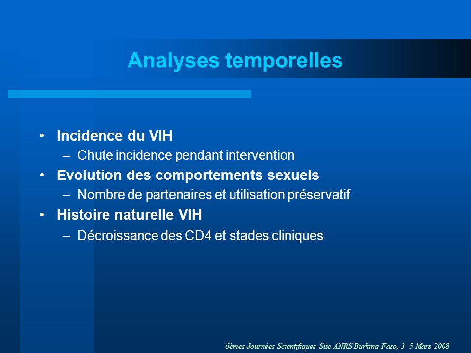 Analyses temporelles Incidence du VIH