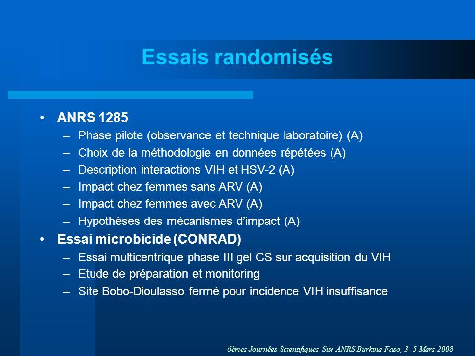 Essais randomisés ANRS 1285 Essai microbicide (CONRAD)