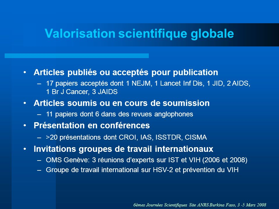 Valorisation scientifique globale