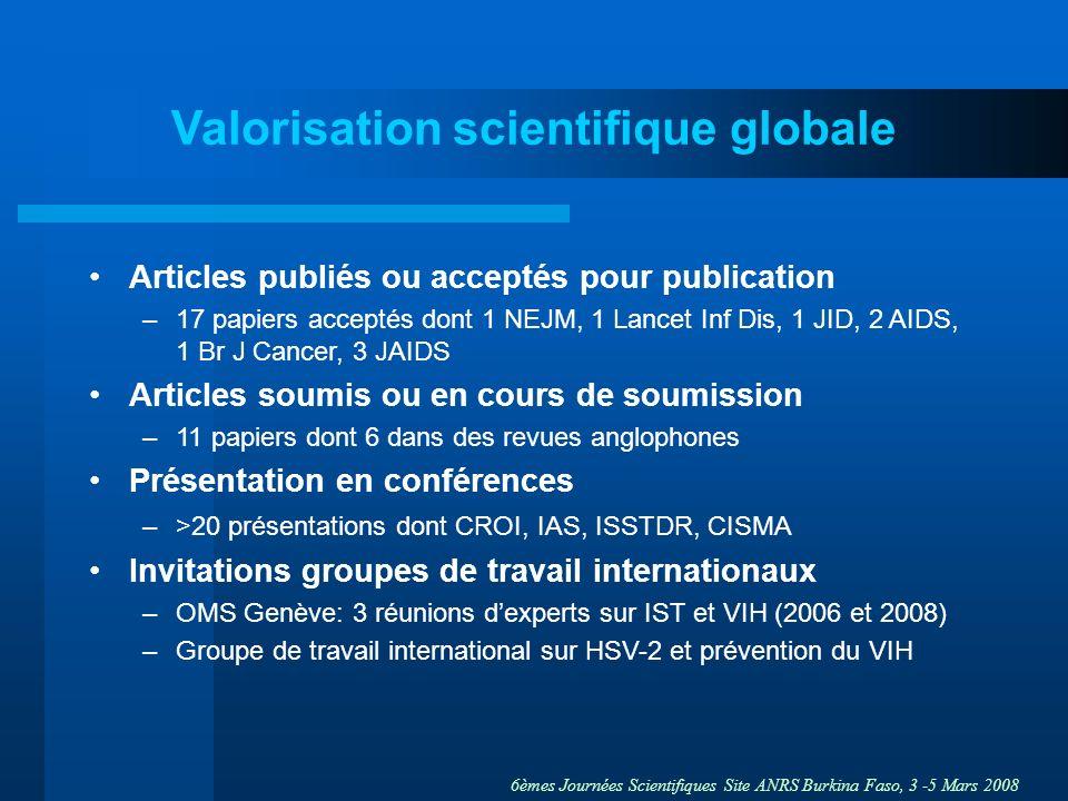 Valorisation scientifique globale