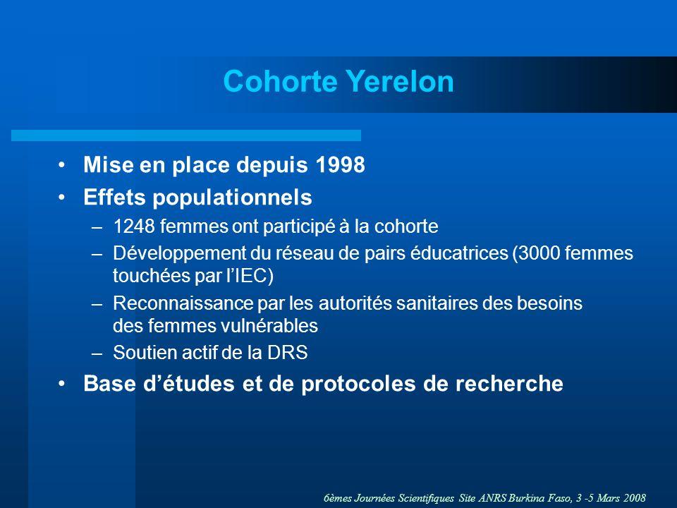 Cohorte Yerelon Mise en place depuis 1998 Effets populationnels