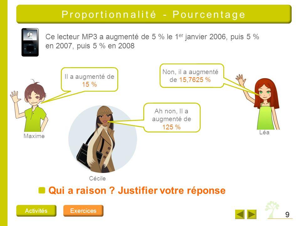 Proportionnalité - Pourcentage