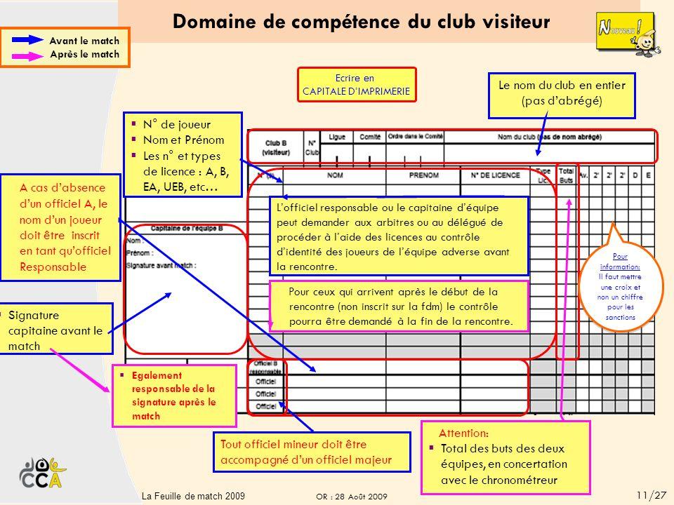 Domaine de compétence du club visiteur