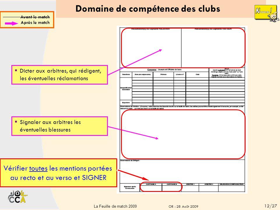 Domaine de compétence des clubs