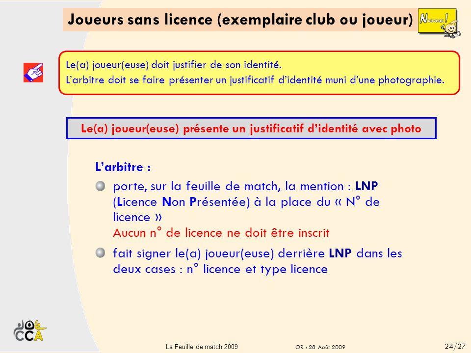 Joueurs sans licence (exemplaire club ou joueur)