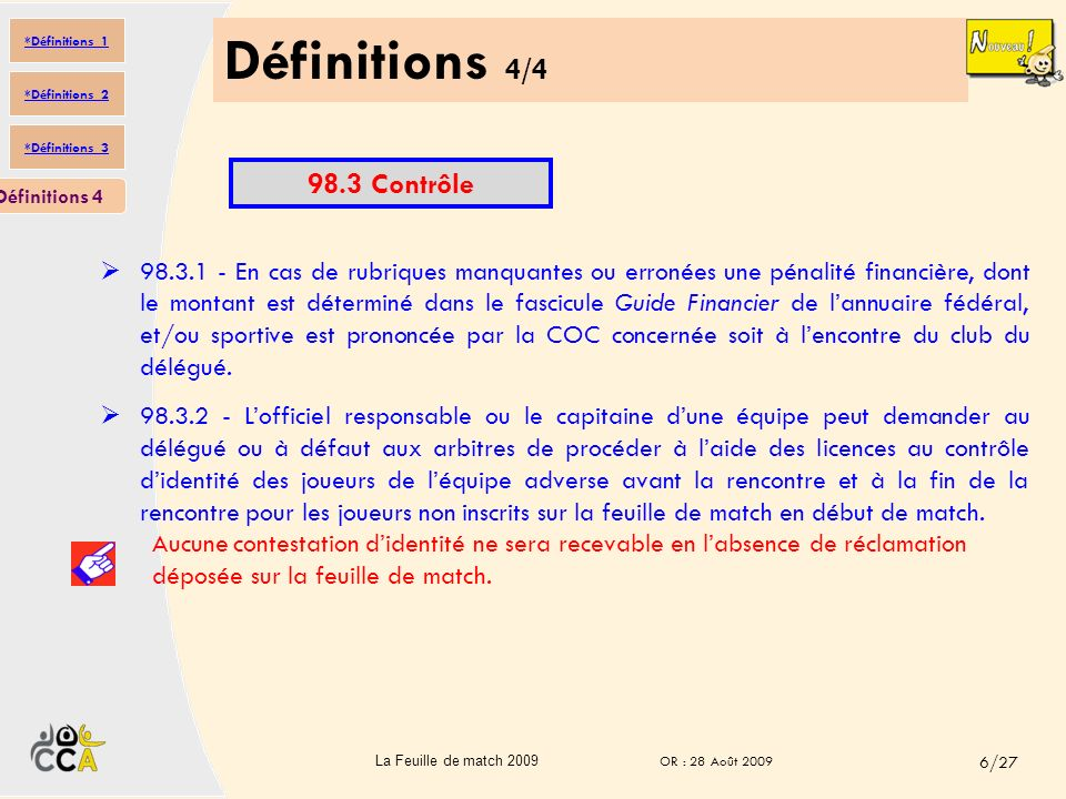 Définitions 4/4 98.3 Contrôle