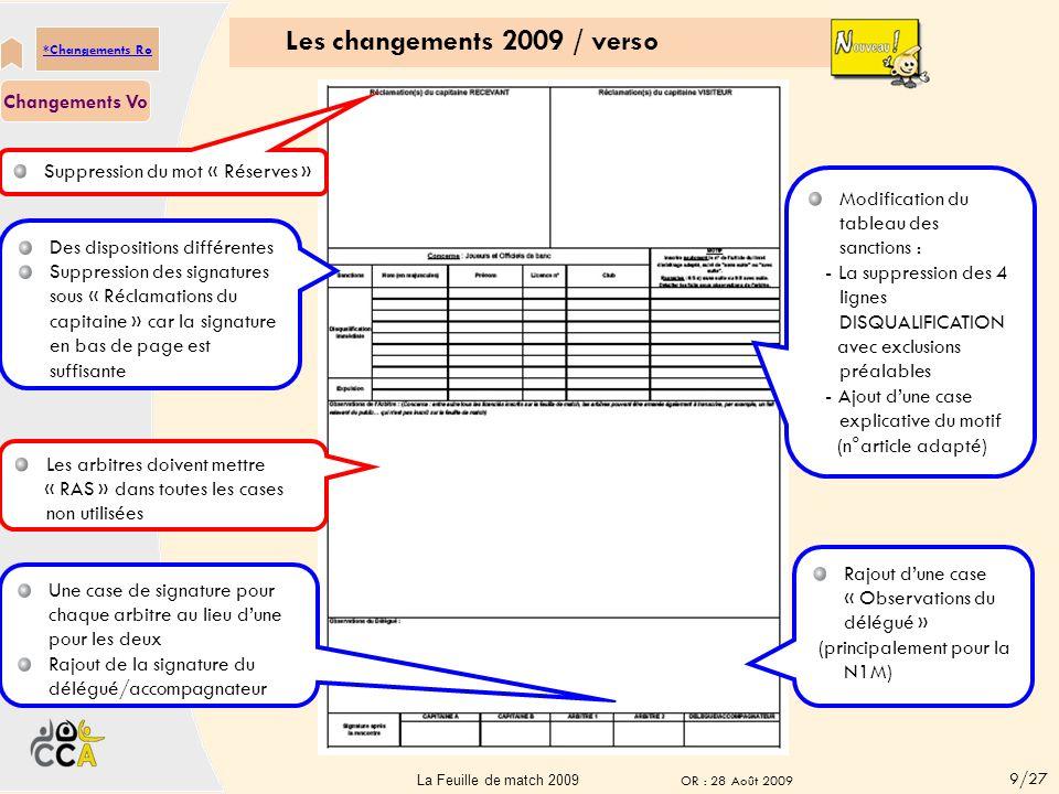 Les changements 2009 / verso