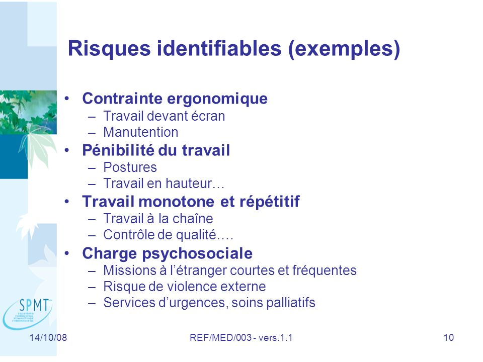 Risques identifiables (exemples)
