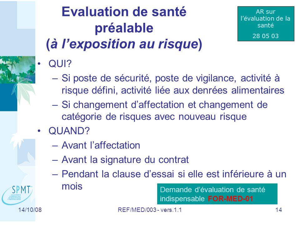 Evaluation de santé préalable (à l'exposition au risque)