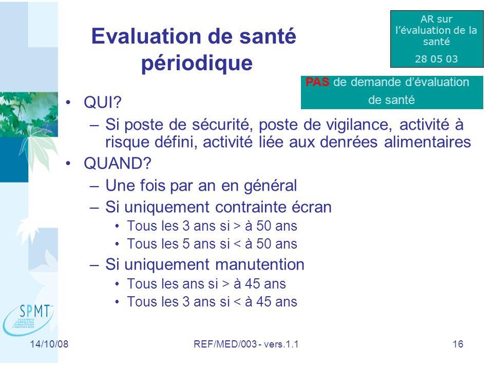 Evaluation de santé périodique