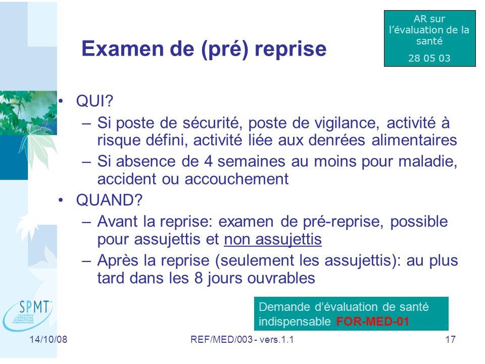 Examen de (pré) reprise