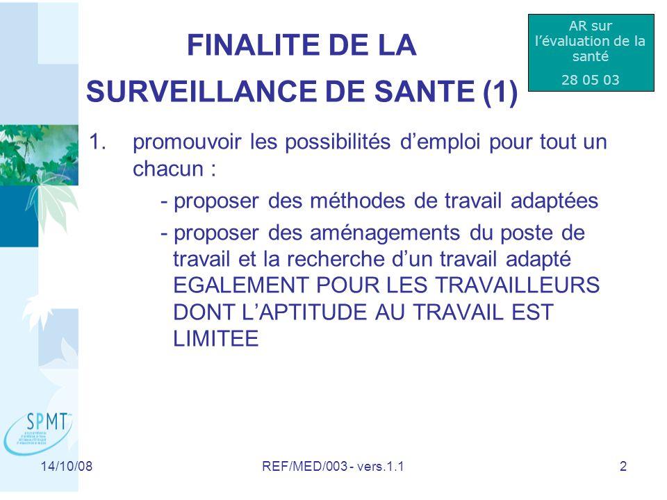 FINALITE DE LA SURVEILLANCE DE SANTE (1)