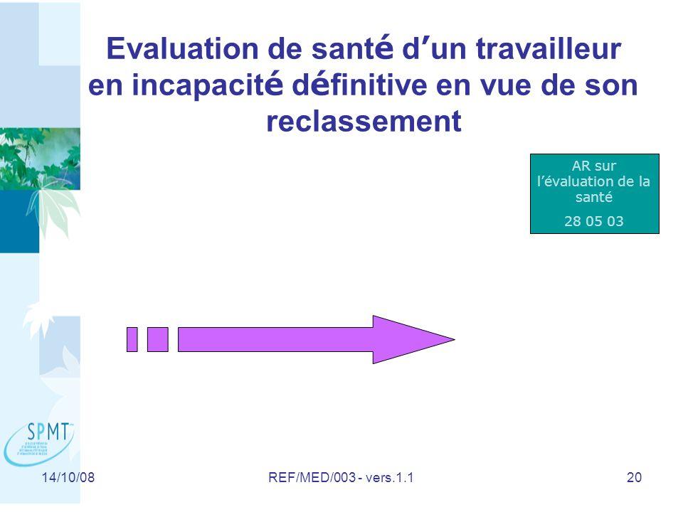 AR sur l'évaluation de la santé