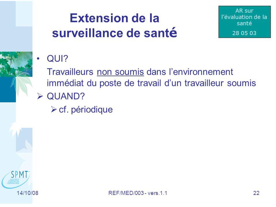 Extension de la surveillance de santé