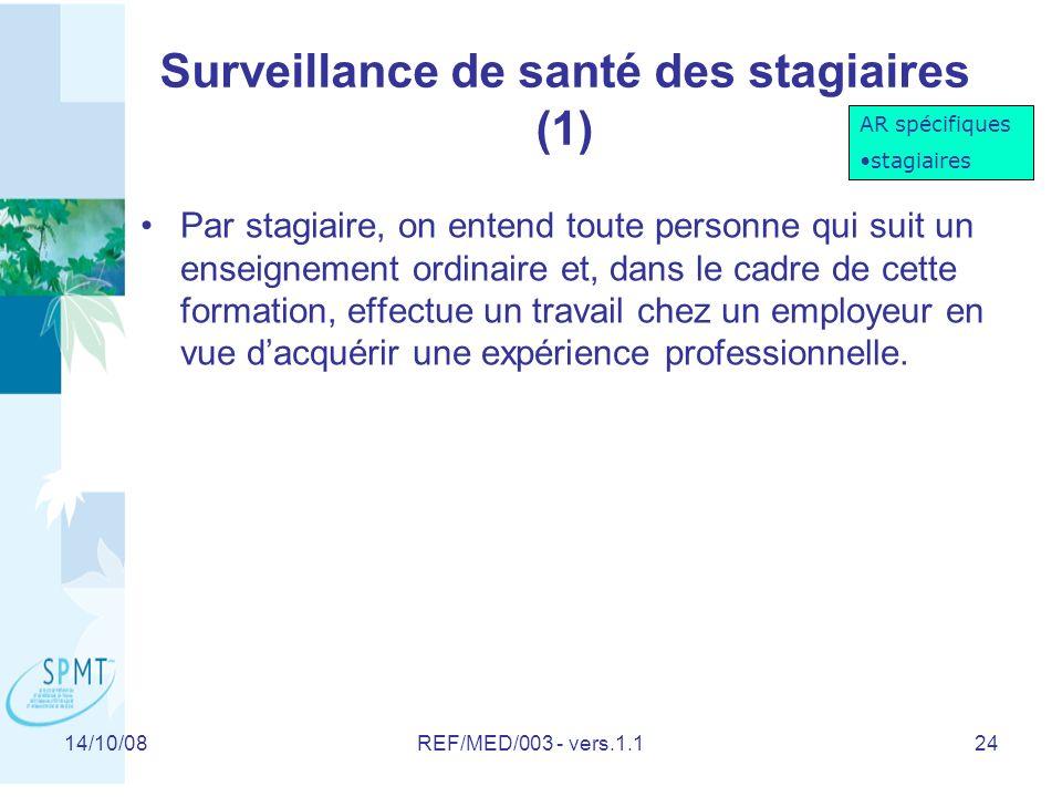 Surveillance de santé des stagiaires (1)
