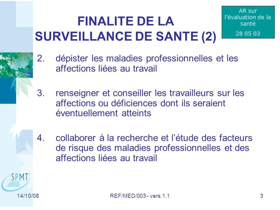 FINALITE DE LA SURVEILLANCE DE SANTE (2)