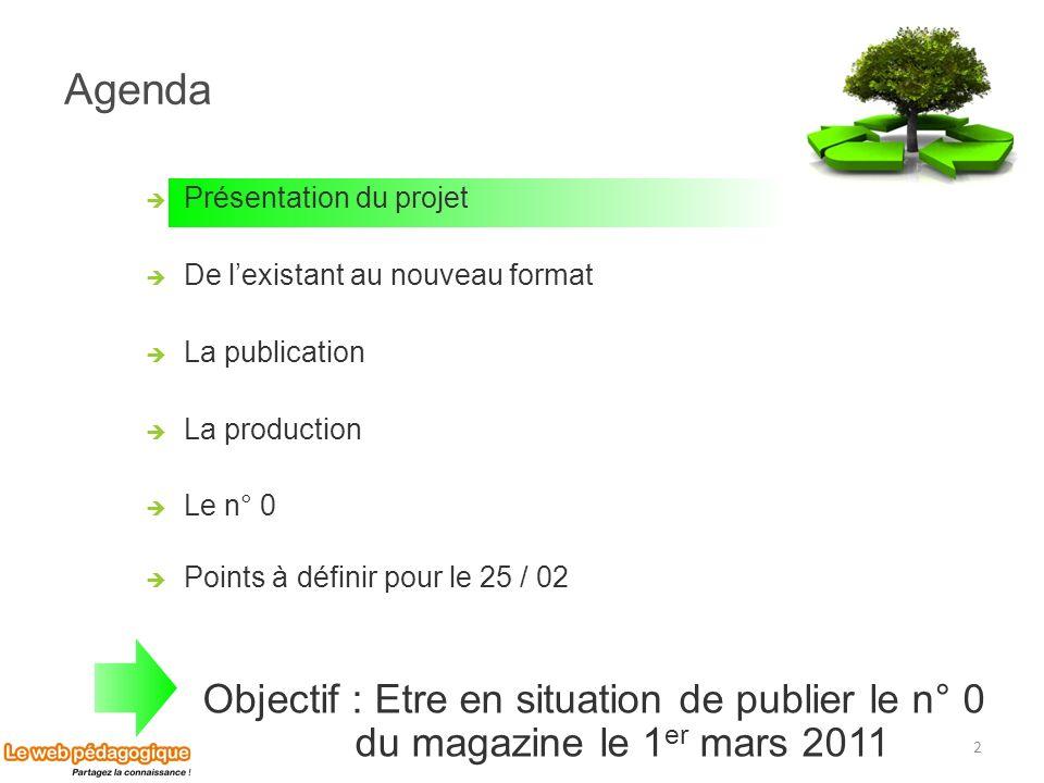 Agenda Présentation du projet. De l'existant au nouveau format. La publication. La production. Le n° 0.