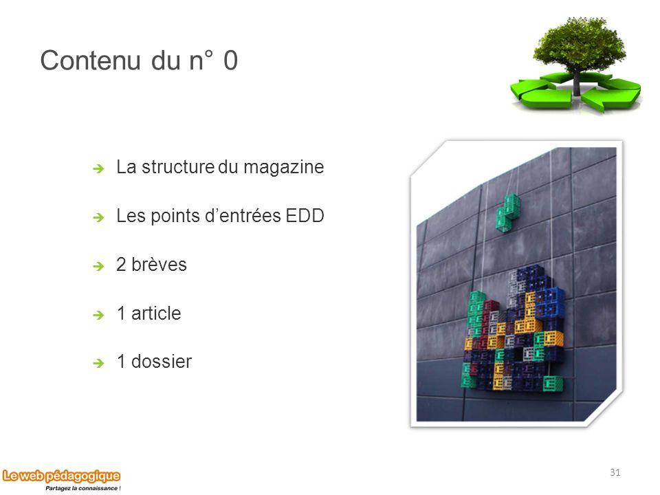 Contenu du n° 0 La structure du magazine Les points d'entrées EDD